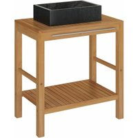 Bathroom Vanity Cabinet Solid Teak with Sink Marble Black - Brown - Vidaxl