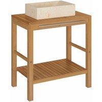 Bathroom Vanity Cabinet Solid Teak with Sink Marble Cream - Brown - Vidaxl