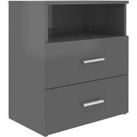 vidaXL Bed Cabinet High Gloss Grey 50x32x60 cm - Grey