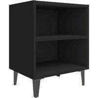 vidaXL Bed Cabinet with Metal Legs Black 40x30x50 cm - Black