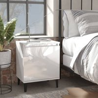 vidaXL Bed Cabinet with Metal Legs High Gloss White 40x30x50 cm - White