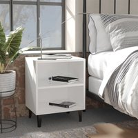 vidaXL Bed Cabinet with Metal Legs White 40x30x50 cm - White