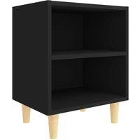 vidaXL Bed Cabinet with Solid Wood Legs Black 40x30x50 cm - Black