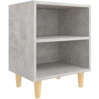 vidaXL Bed Cabinet with Solid Wood Legs Concrete Grey 40x30x50 cm - Grey