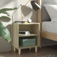 vidaXL Bed Cabinet with Solid Wood Legs Sonoma Oak 40x30x50 cm - Brown