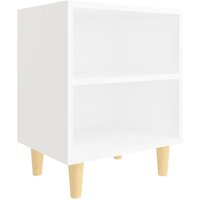 vidaXL Bed Cabinet with Solid Wood Legs White 40x30x50 cm - White
