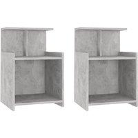 Bed Cabinets 2 pcs Concrete Grey 40x35x60 cm Chipboard - Grey - Vidaxl