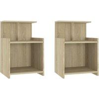 Bed Cabinets 2 pcs Sonoma Oak 40x35x60 cm Chipboard - Brown - Vidaxl