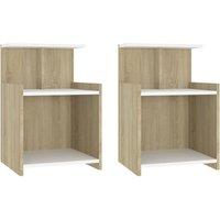 Bed Cabinets 2 pcs White and Sonoma Oak 40x35x60 cm Chipboard - Beige - Vidaxl