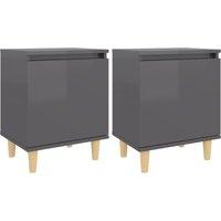vidaXL Bed Cabinets Solid Wood Legs 2 pcs High Gloss Grey 40x30x50 cm - Grey