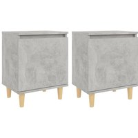 vidaXL Bed Cabinets with Solid Wood Legs 2pcs Concrete Grey 40x30x50cm - Grey