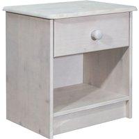 Bedside Cabinet 41x30x42 cm Solid Pine Wood - White - Vidaxl