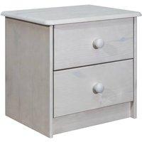 vidaXL Bedside Cabinet 43x34x40 cm Solid Pine Wood - White