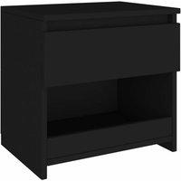Bedside Cabinet Black 40x30x39 cm Chipboard - Black - Vidaxl