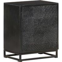 Bedside Cabinet Black 40x30x50 cm Solid Acacia and Mango Wood - Black - Vidaxl