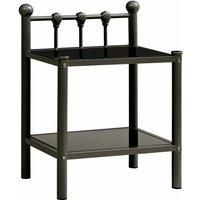 Bedside Cabinet Black 45x34.5x60.5 cm Metal and Glass - Vidaxl