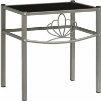 vidaXL Bedside Cabinet Grey and Black 42.5x33x44.5 cm Metal and Glass