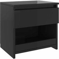 vidaXL Bedside Cabinet High Gloss Black 40x30x39 cm Chipboard - Black