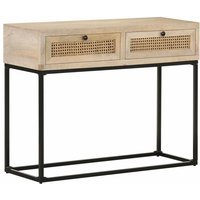 Console Table 100x35x76 cm Solid Mango Wood and Natural Cane - Vidaxl