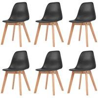 Dining Chairs 6 pcs Black Plastic - Black - Vidaxl
