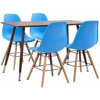 Dining Set Plastic 7 Piece Blue - Blue - Vidaxl