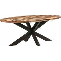 vidaXL Dining Table Oval 200x100x75cm Acacia Wood with Sheesham Finish - Brown