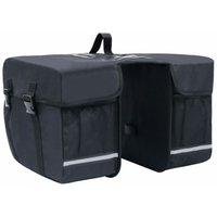 vidaXL Double Bicycle Bag for Pannier Rack Waterproof 35 L Black - Black