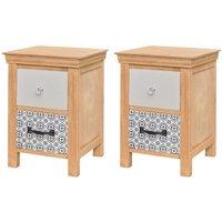 vidaXL Drawer Cabinets 2 pcs 34x34x46 cm Solid Wood - Brown
