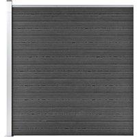 Fence Panel WPC 175x186 cm Black - Black - Vidaxl