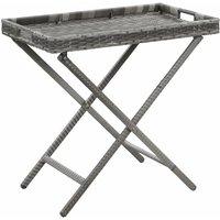 Folding Table Grey 80x45x75 cm Poly Rattan - Grey - Vidaxl