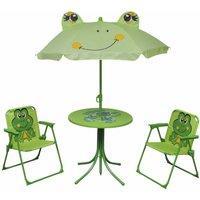 3 Piece Kids Garden Bistro Set with Parasol Green - Green - Vidaxl
