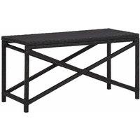 vidaXL Garden Bench 80 cm Poly Rattan Black - Black