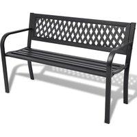 Garden Bench 118 cm Steel Black - VIDAXL