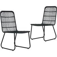 Garden Chairs 2 pcs Poly Rattan Black - Black - Vidaxl