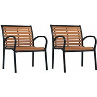 Garden Chairs 2 pcs Steel and WPC Black and Brown - Black - Vidaxl