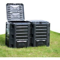 Garden Composter Black 1200 L - Black - Vidaxl