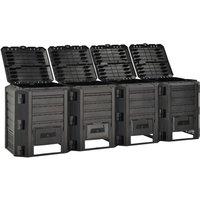 Garden Composter Black 1600 L - Black - Vidaxl