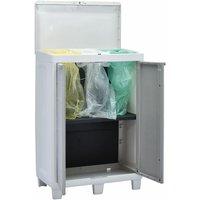 vidaXL Garden Dustbin with 3 Bags Light Grey 65x38x102 cm - Grey
