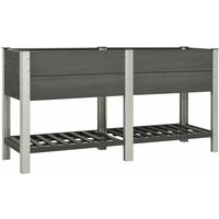vidaXL Garden Raised Bed with Shelf 175x50x90 cm WPC Grey - Grey