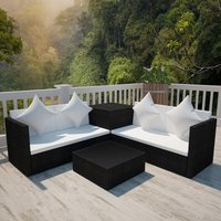 4 Piece Garden Lounge Set with Cushions Poly Rattan Black - VIDAXL