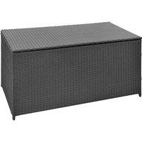 Garden Storage Box Black 120x50x60 cm Poly Rattan - Black - Vidaxl