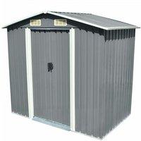 Garden Storage Shed Grey Metal 204x132x186 cm - Grey - Vidaxl