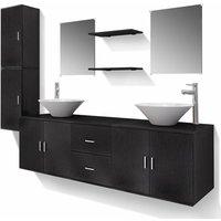 vidaXL Bathroom Furniture Set with Basin with Tap Black Eleven Piece - Black