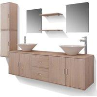 vidaXL Bathroom Furniture Set with Basin with Tap Beige Eleven Piece - Beige