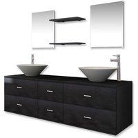 vidaXL Bathroom Furniture Set with Basin with Tap Black Nine Piece - Black