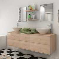 vidaXL Bathroom Furniture Set with Basin with Tap Beige Nine Piece - Beige