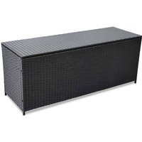 Garden Storage Box Black 150x50x60 cm Poly Rattan - Black - Vidaxl