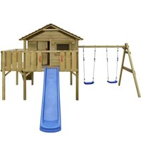 vidaXL Playhouse Set with Ladder, Slide and Swings 480x440x294 cm Wood - Brown