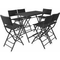 Vidaxl - 7 Piece Folding Outdoor Dining Set Steel Poly Rattan Black
