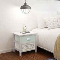 French Bedside Cabinet Wood - White - Vidaxl
